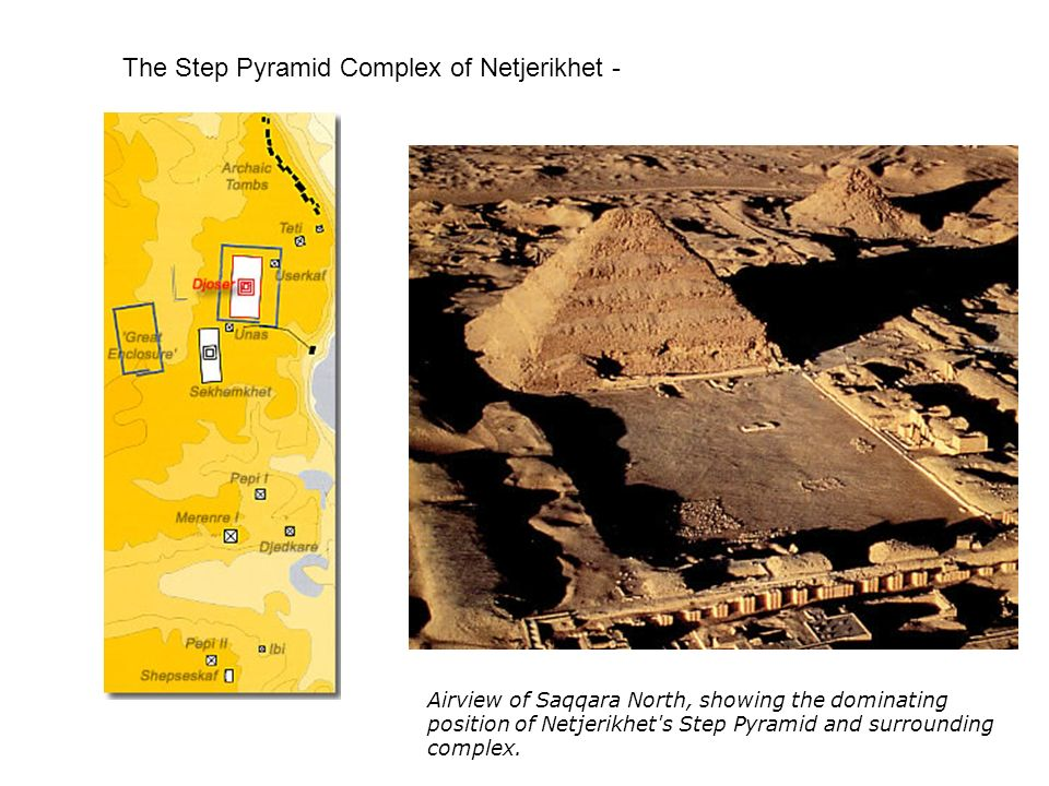 The Step Pyramid Complex of Netjerikhet - Airview of Saqqara North, showing the dominating position of Netjerikhet's Step Pyramid and surrounding comp