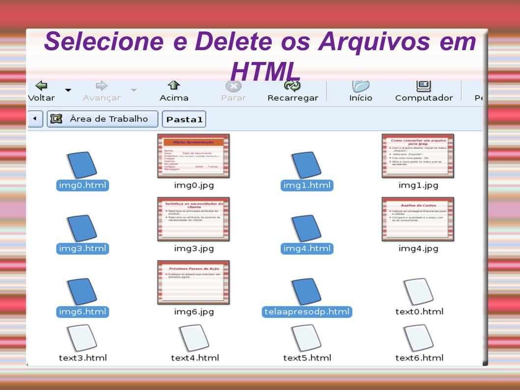 Selecione e Delete os Arquivos em HTML