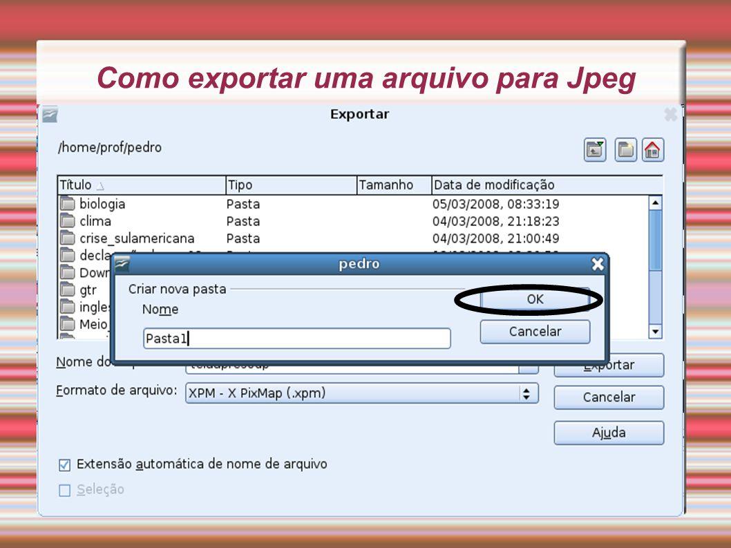 Como exportar uma arquivo para Jpeg