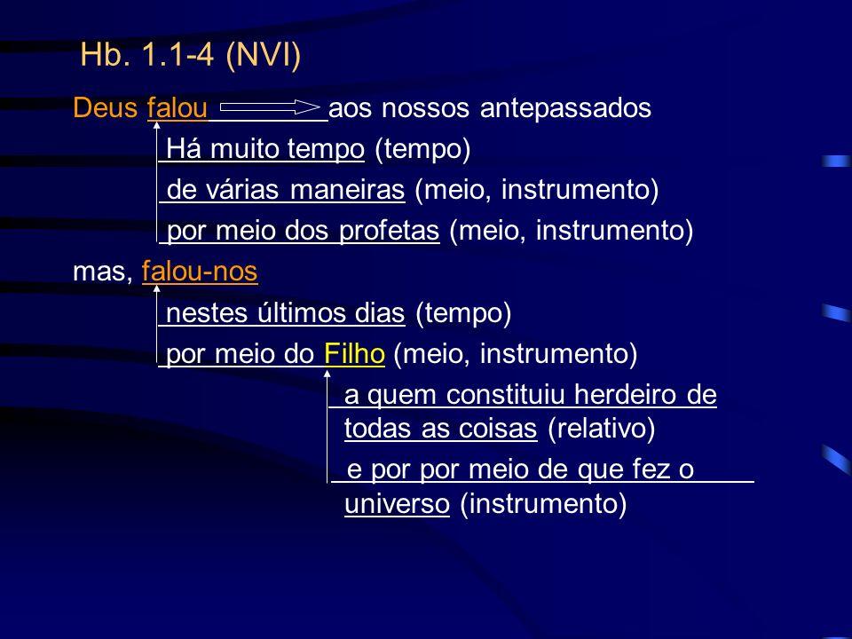 Hb. 1.1-4 (NVI) Deus falouaos nossos antepassados Há muito tempo (tempo) de várias maneiras (meio, instrumento) por meio dos profetas (meio, instrumen