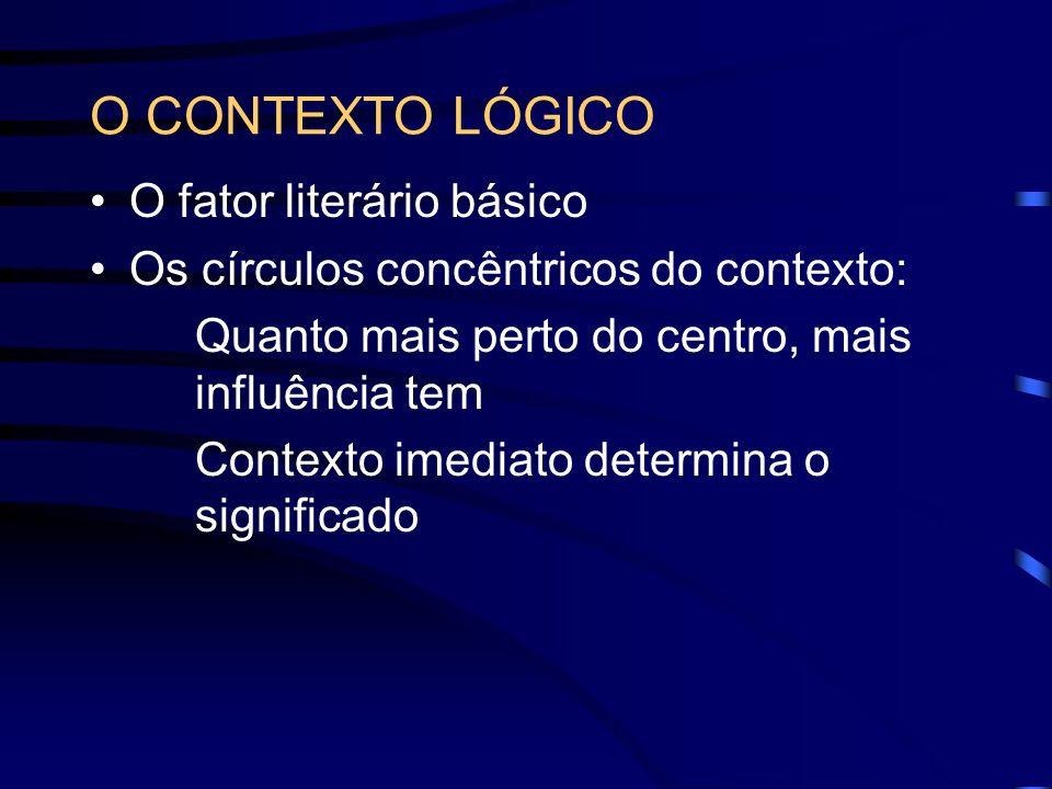 O CONTEXTO LÓGICO O fator literário básico Os círculos concêntricos do contexto: Quanto mais perto do centro, mais influência tem Contexto imediato de