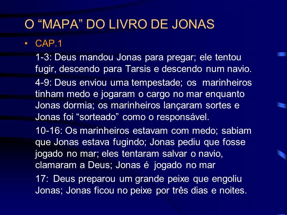O MAPA DO LIVRO DE JONAS CAP.1 1-3: Deus mandou Jonas para pregar; ele tentou fugir, descendo para Tarsis e descendo num navio. 4-9: Deus enviou uma t