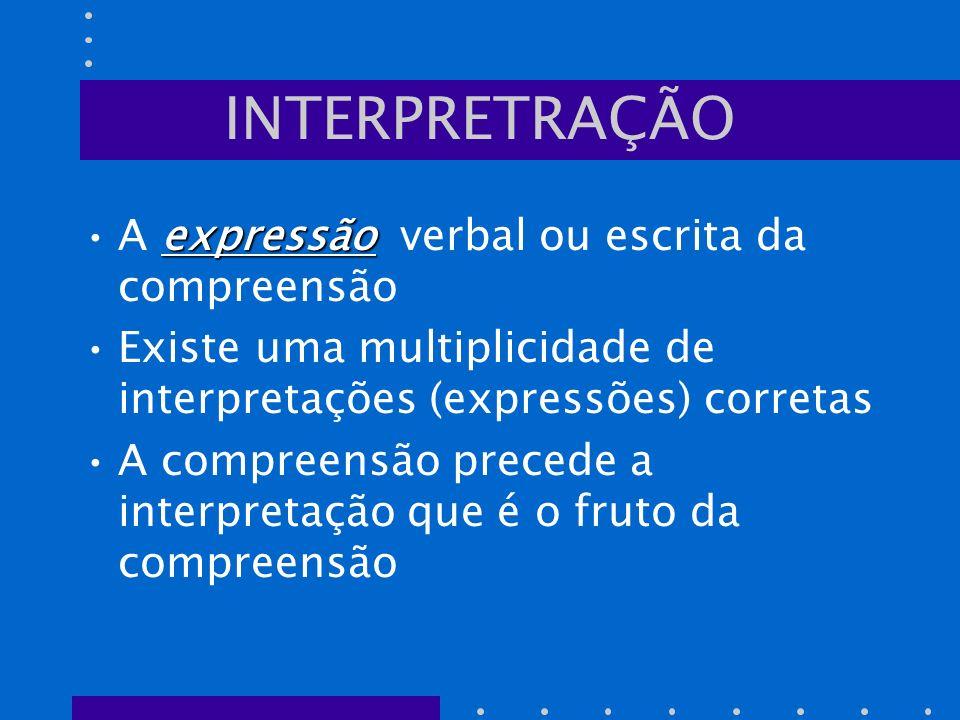 INTERPRETRAÇÃO expressãoA expressão verbal ou escrita da compreensão Existe uma multiplicidade de interpretações (expressões) corretas A compreensão p