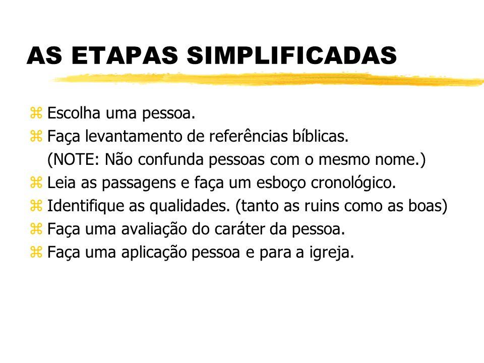 AS ETAPAS SIMPLIFICADAS zEscolha uma pessoa.zFaça levantamento de referências bíblicas.