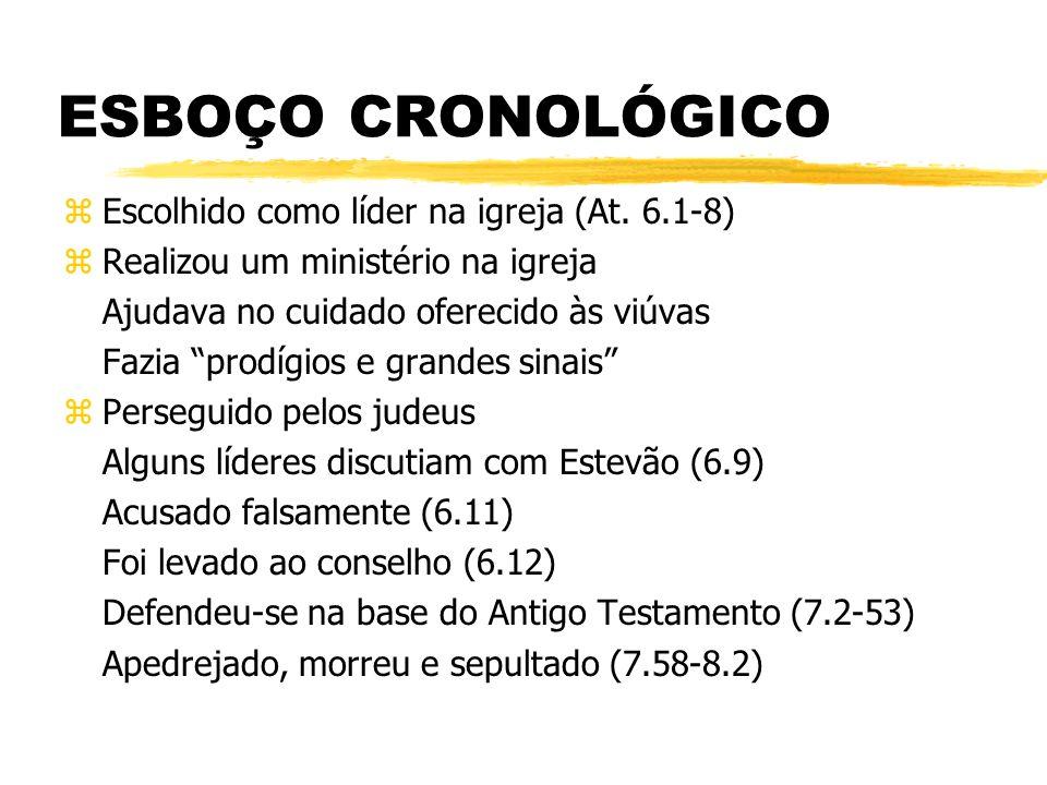 ESBOÇO CRONOLÓGICO zEscolhido como líder na igreja (At. 6.1-8) zRealizou um ministério na igreja Ajudava no cuidado oferecido às viúvas Fazia prodígio