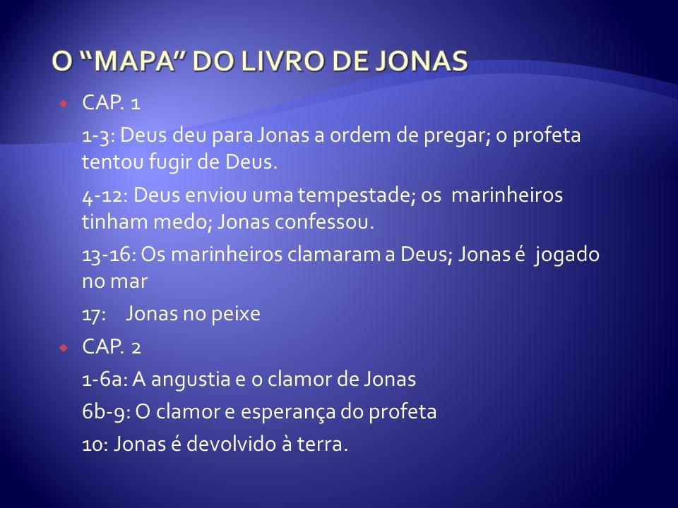 CAP. 1 1-3: Deus deu para Jonas a ordem de pregar; o profeta tentou fugir de Deus. 4-12: Deus enviou uma tempestade; os marinheiros tinham medo; Jonas