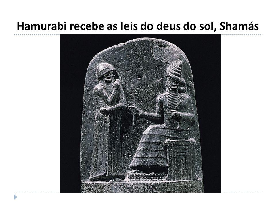 Hamurabi recebe as leis do deus do sol, Shamás
