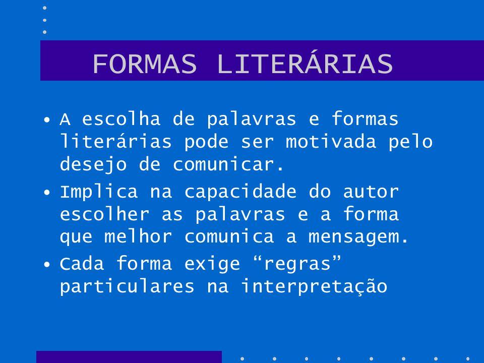 FORMAS LITERÁRIAS A escolha de palavras e formas literárias pode ser motivada pelo desejo de comunicar. Implica na capacidade do autor escolher as pal