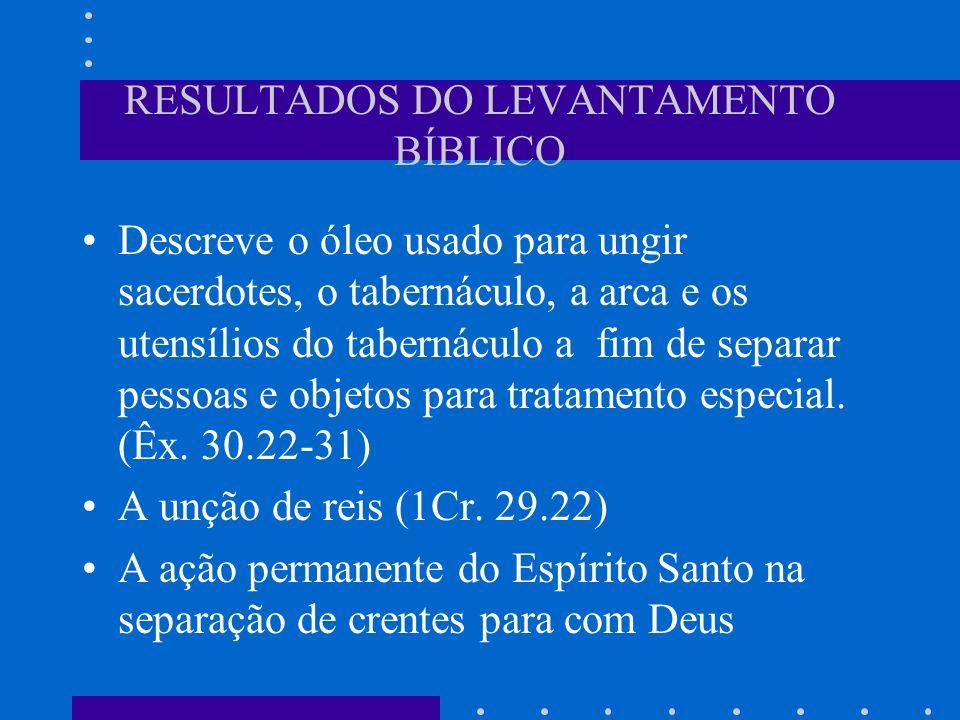 APLICAÇÃO: Ungir com óleo significava a separação de uma pessoa ou objeto para uso especial diante de Deus.