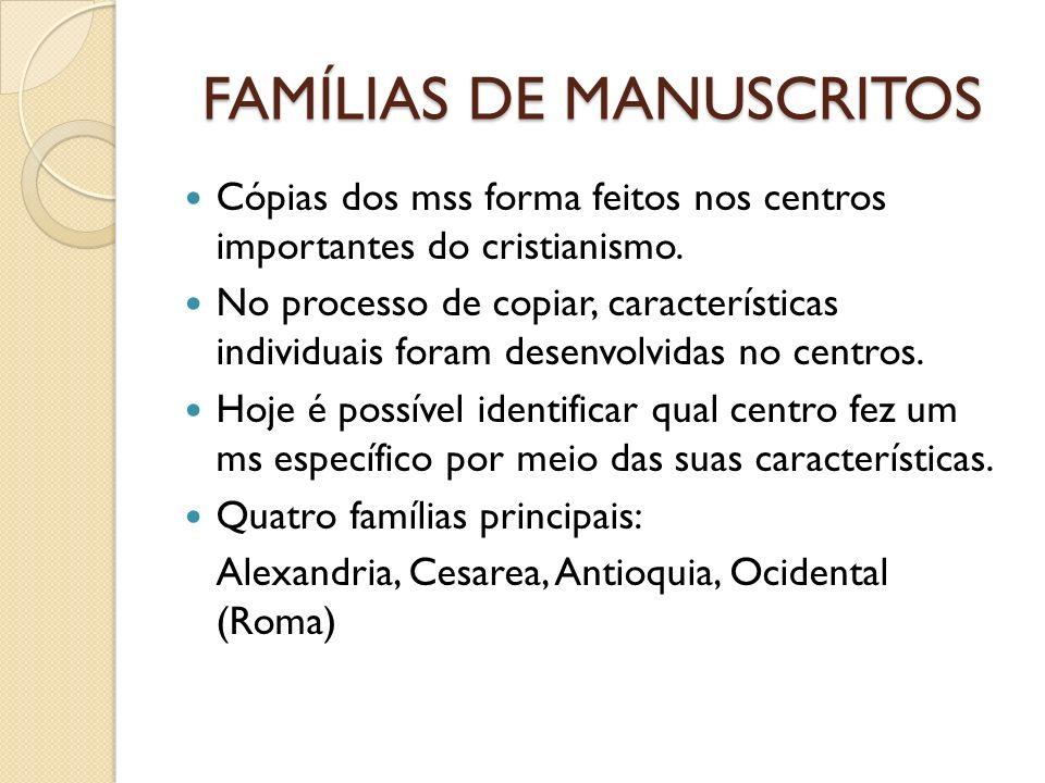 FAMÍLIAS DE MANUSCRITOS Cópias dos mss forma feitos nos centros importantes do cristianismo. No processo de copiar, características individuais foram