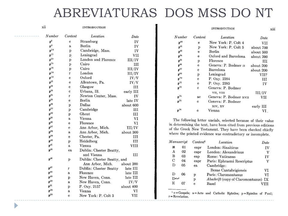 ABREVIATURAS DOS MSS DO NT
