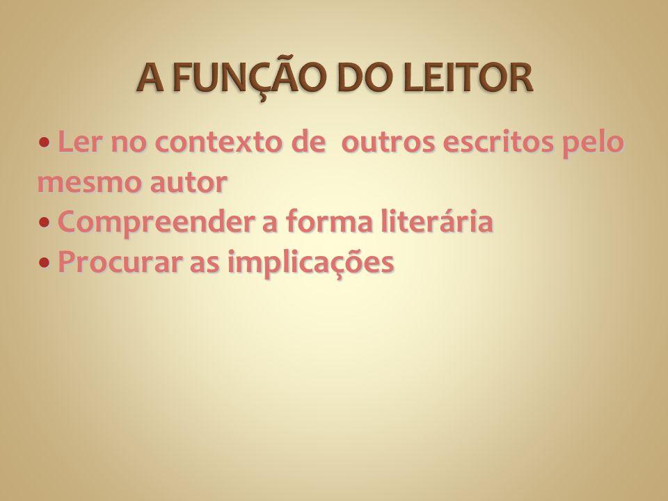 Ler no contexto de outros escritos pelo mesmo autor Ler no contexto de outros escritos pelo mesmo autor Compreender a forma literária Compreender a fo