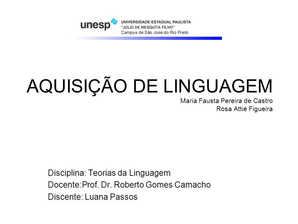 AQUISIÇÃO DE LINGUAGEM Maria Fausta Pereira de Castro Rosa Attié Figueira Disciplina: Teorias da Linguagem Docente:Prof. Dr. Roberto Gomes Camacho Dis