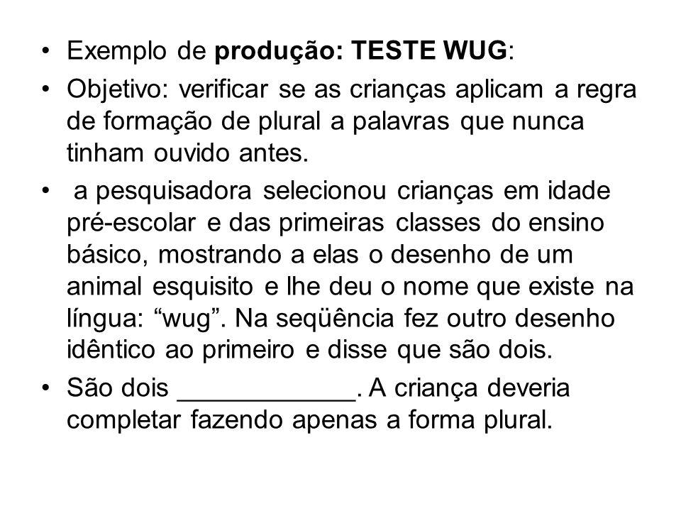 Exemplo de produção: TESTE WUG: Objetivo: verificar se as crianças aplicam a regra de formação de plural a palavras que nunca tinham ouvido antes. a p