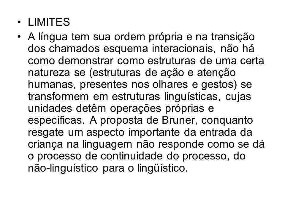 LIMITES A língua tem sua ordem própria e na transição dos chamados esquema interacionais, não há como demonstrar como estruturas de uma certa natureza