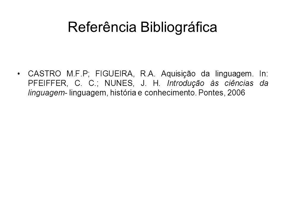 Referência Bibliográfica CASTRO M.F.P; FIGUEIRA, R.A. Aquisição da linguagem. In: PFEIFFER, C. C.; NUNES, J. H. Introdução às ciências da linguagem- l