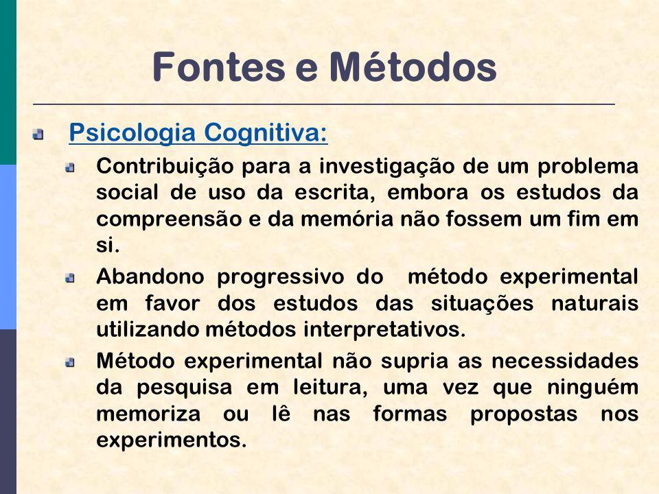 Fontes e Métodos Psicologia Cognitiva: Contribuição para a investigação de um problema social de uso da escrita, embora os estudos da compreensão e da memória não fossem um fim em si.