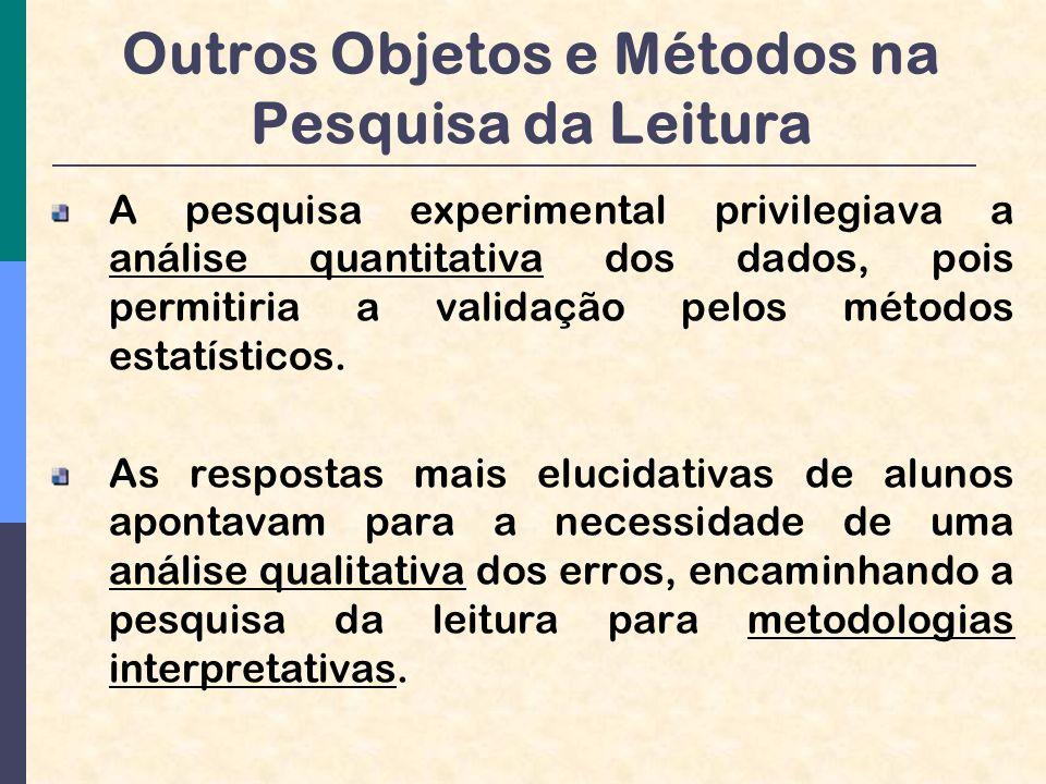 Outros Objetos e Métodos na Pesquisa da Leitura A pesquisa experimental privilegiava a análise quantitativa dos dados, pois permitiria a validação pelos métodos estatísticos.
