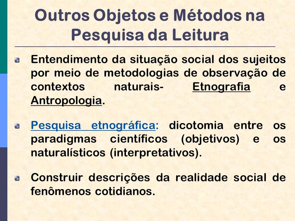 Outros Objetos e Métodos na Pesquisa da Leitura Entendimento da situação social dos sujeitos por meio de metodologias de observação de contextos naturais- Etnografia e Antropologia.