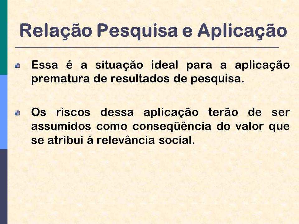 Relação Pesquisa e Aplicação Essa é a situação ideal para a aplicação prematura de resultados de pesquisa.