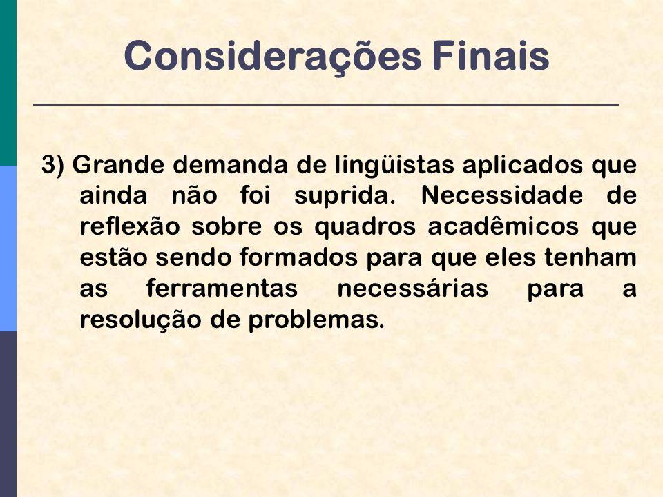 Considerações Finais 3) Grande demanda de lingüistas aplicados que ainda não foi suprida.