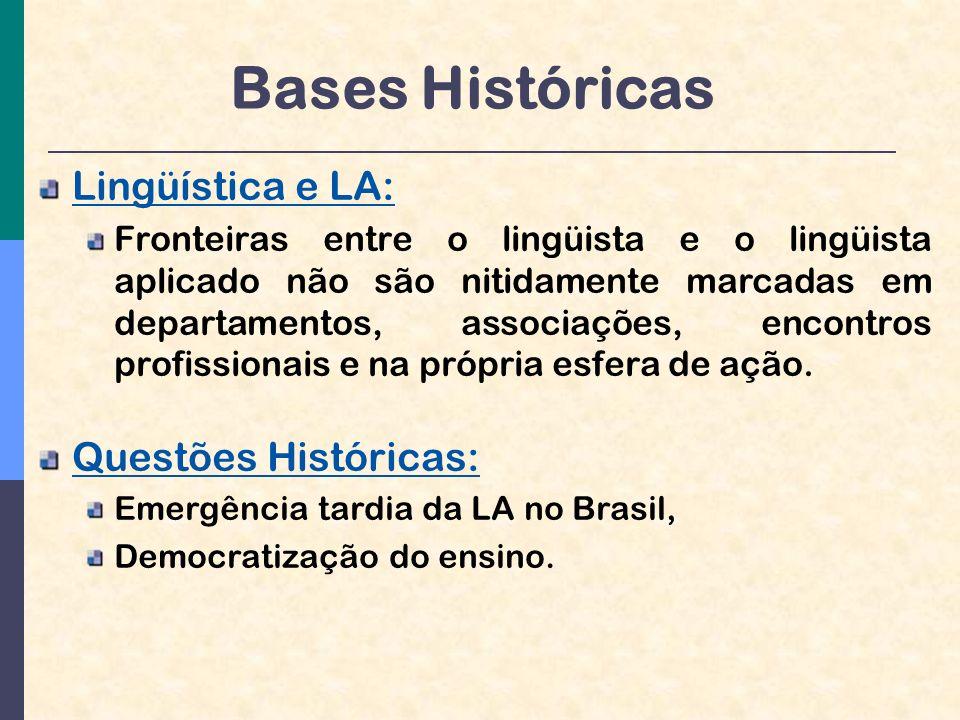 Bases Históricas Lingüística e LA: Fronteiras entre o lingüista e o lingüista aplicado não são nitidamente marcadas em departamentos, associações, encontros profissionais e na própria esfera de ação.