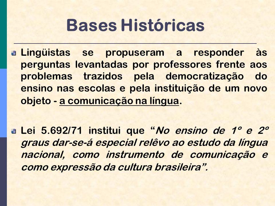 Bases Históricas Lingüistas se propuseram a responder às perguntas levantadas por professores frente aos problemas trazidos pela democratização do ensino nas escolas e pela instituição de um novo objeto - a comunicação na língua.