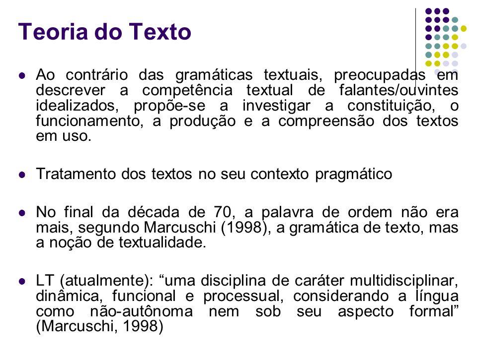 Teoria do Texto Ao contrário das gramáticas textuais, preocupadas em descrever a competência textual de falantes/ouvintes idealizados, propõe-se a inv