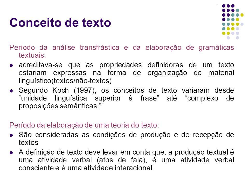 Conceito de texto Período da análise transfrástica e da elaboração de gramáticas textuais: acreditava-se que as propriedades definidoras de um texto e