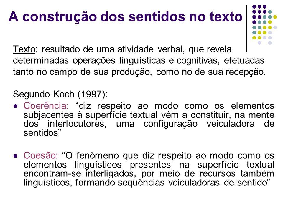 A construção dos sentidos no texto Texto: resultado de uma atividade verbal, que revela determinadas operações linguísticas e cognitivas, efetuadas ta