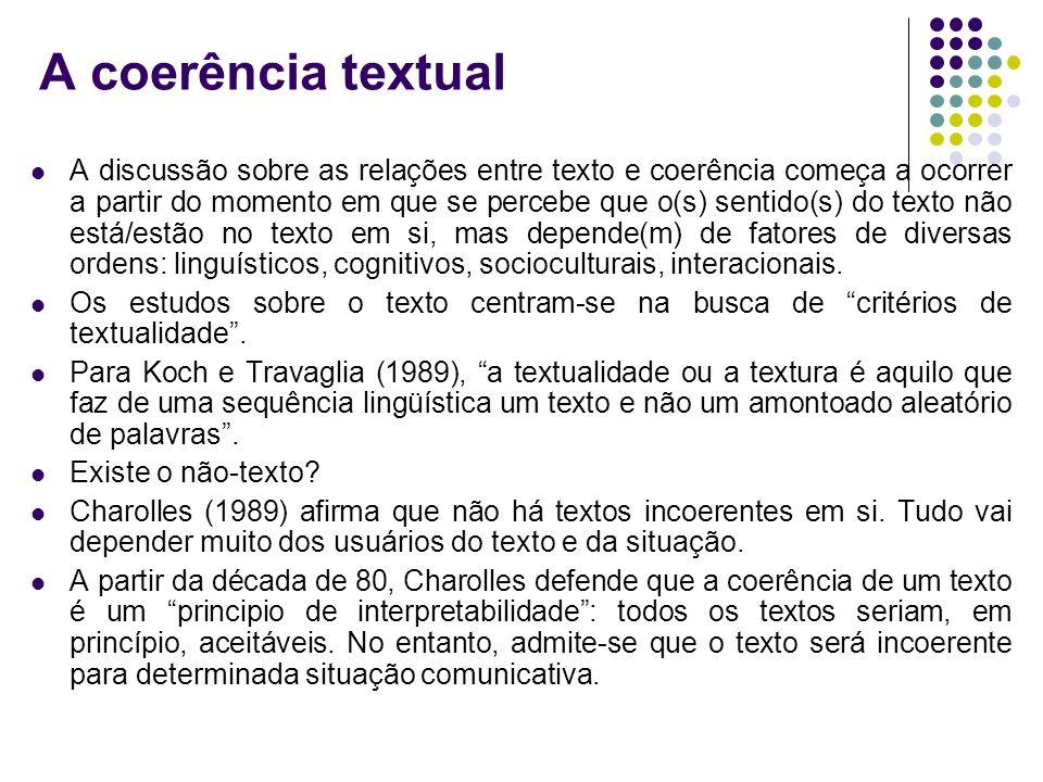 A coerência textual A discussão sobre as relações entre texto e coerência começa a ocorrer a partir do momento em que se percebe que o(s) sentido(s) d