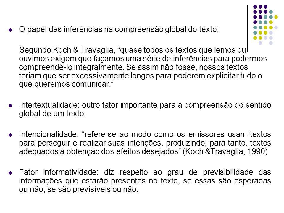 O papel das inferências na compreensão global do texto: Segundo Koch & Travaglia, quase todos os textos que lemos ou ouvimos exigem que façamos uma sé