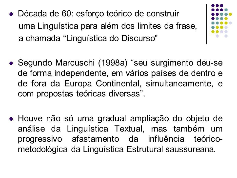Década de 60: esforço teórico de construir uma Linguística para além dos limites da frase, a chamada Linguística do Discurso Segundo Marcuschi (1998a)