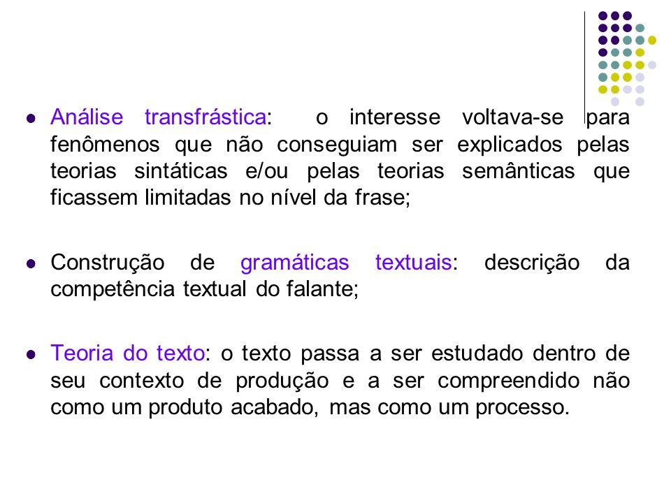 Análise transfrástica Parte-se da frase para o texto Texto: uma sequência pronominal ininterrupta (Harweg,1968) sequência coerente de enunciados (Isenberg, 1970) Pedro foi ao cinema.