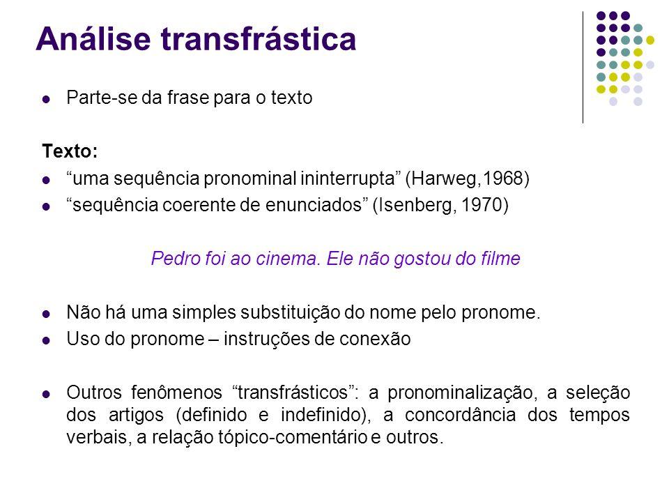Análise transfrástica Parte-se da frase para o texto Texto: uma sequência pronominal ininterrupta (Harweg,1968) sequência coerente de enunciados (Isen