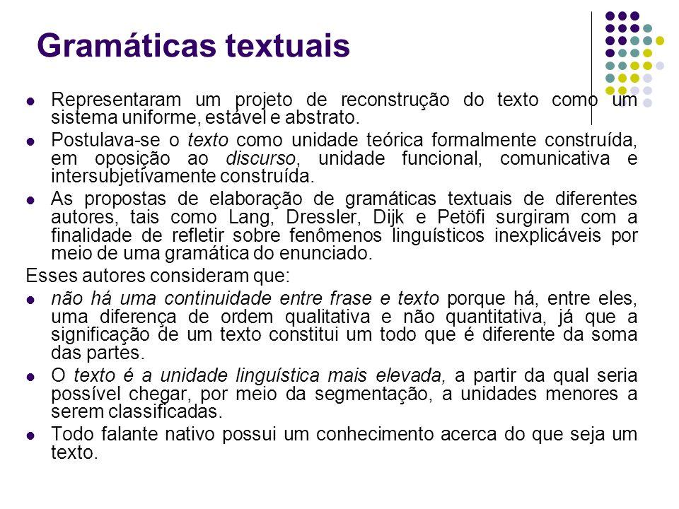 Gramáticas textuais Representaram um projeto de reconstrução do texto como um sistema uniforme, estável e abstrato. Postulava-se o texto como unidade