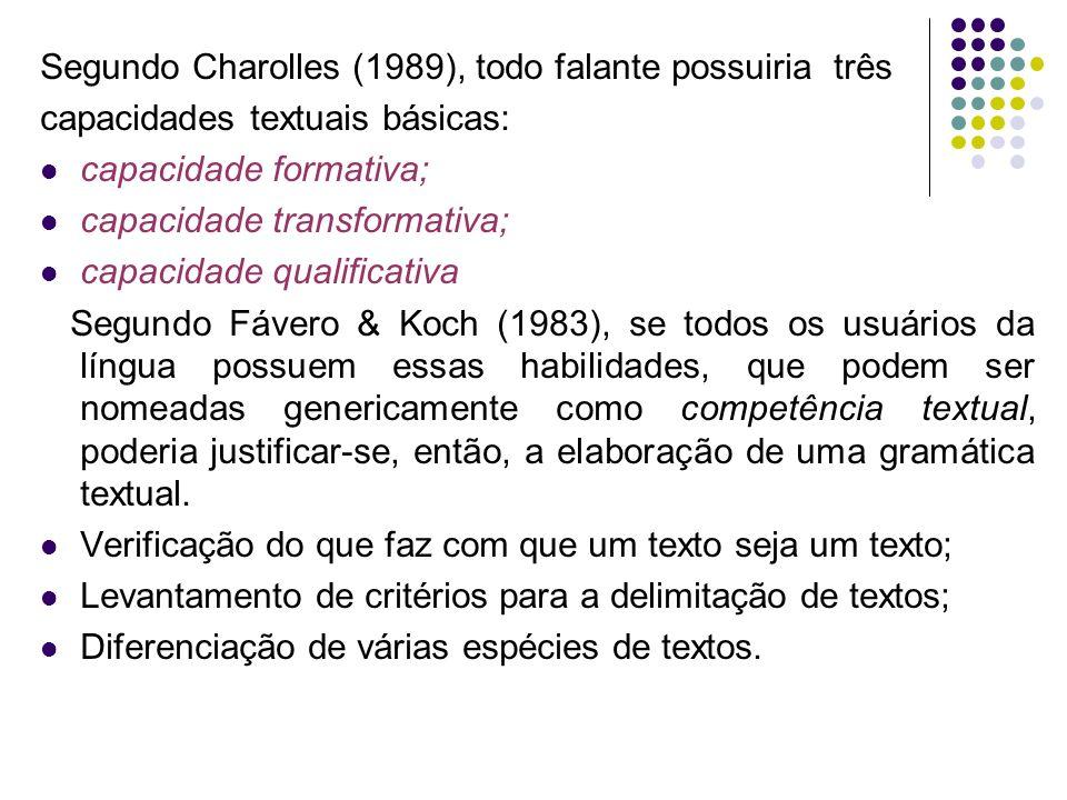 Segundo Charolles (1989), todo falante possuiria três capacidades textuais básicas: capacidade formativa; capacidade transformativa; capacidade qualif