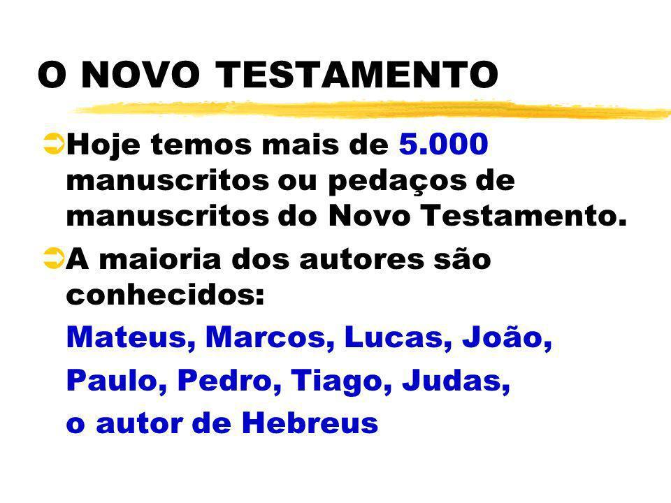 O NOVO TESTAMENTO ÜHoje temos mais de 5.000 manuscritos ou pedaços de manuscritos do Novo Testamento. ÜA maioria dos autores são conhecidos: Mateus, M