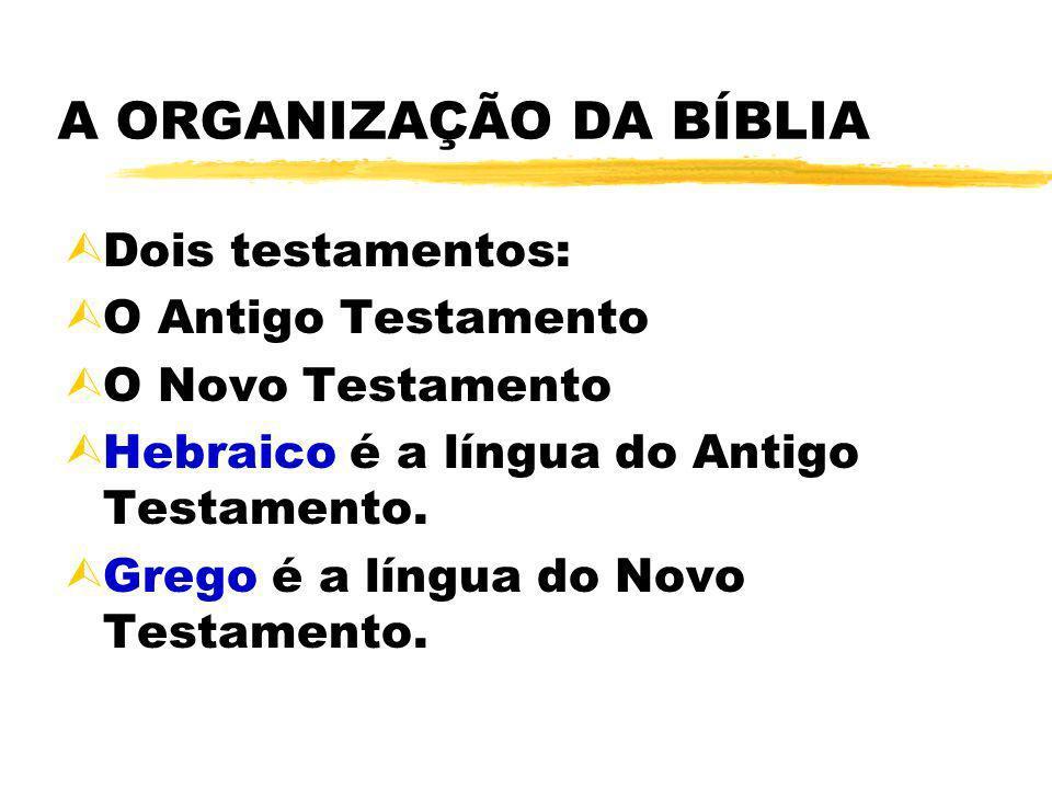 A ORGANIZAÇÃO DA BÍBLIA ÙDois testamentos: ÙO Antigo Testamento ÙO Novo Testamento ÙHebraico é a língua do Antigo Testamento. ÙGrego é a língua do Nov