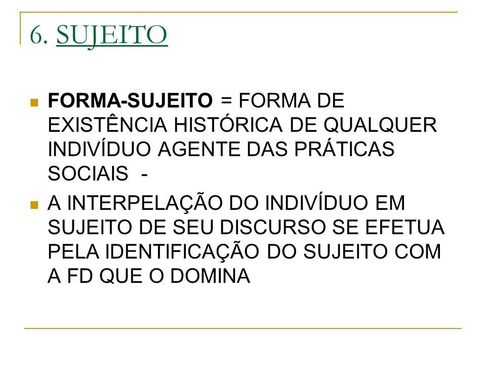 6. SUJEITO FORMA-SUJEITO = FORMA DE EXISTÊNCIA HISTÓRICA DE QUALQUER INDIVÍDUO AGENTE DAS PRÁTICAS SOCIAIS - A INTERPELAÇÃO DO INDIVÍDUO EM SUJEITO DE