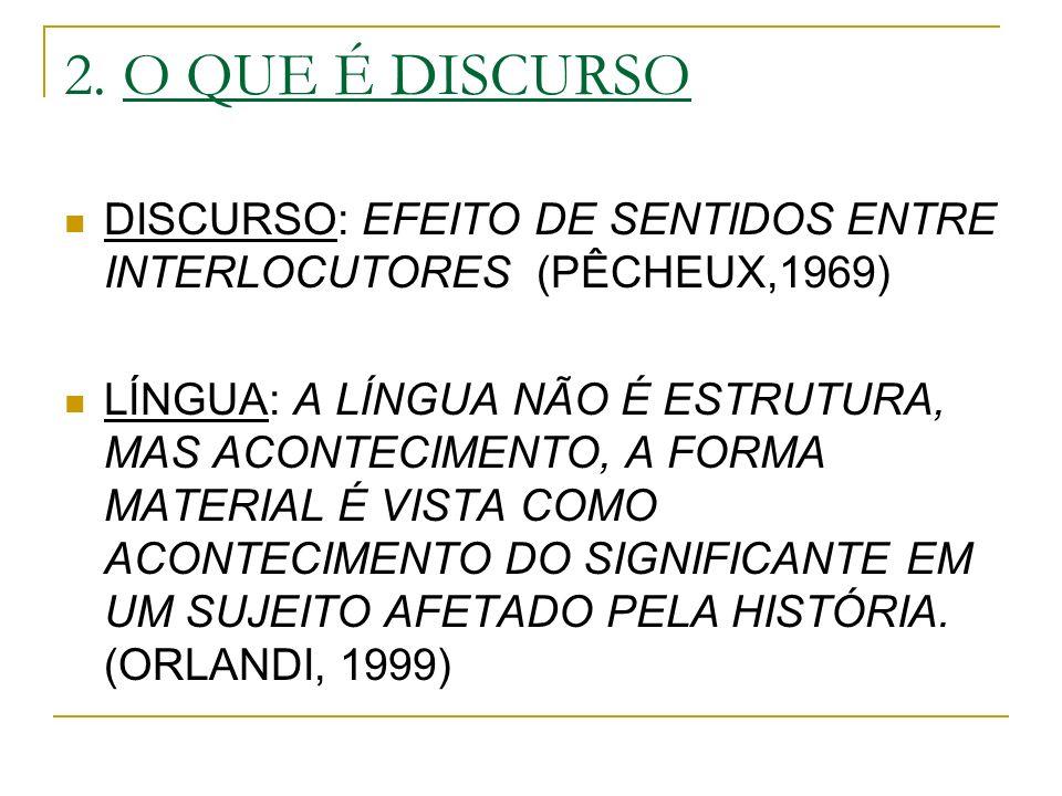 2. O QUE É DISCURSO DISCURSO: EFEITO DE SENTIDOS ENTRE INTERLOCUTORES (PÊCHEUX,1969) LÍNGUA: A LÍNGUA NÃO É ESTRUTURA, MAS ACONTECIMENTO, A FORMA MATE