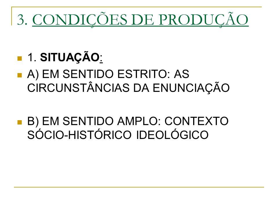 3. CONDIÇÕES DE PRODUÇÃO 1. SITUAÇÃO: A) EM SENTIDO ESTRITO: AS CIRCUNSTÂNCIAS DA ENUNCIAÇÃO B) EM SENTIDO AMPLO: CONTEXTO SÓCIO-HISTÓRICO IDEOLÓGICO