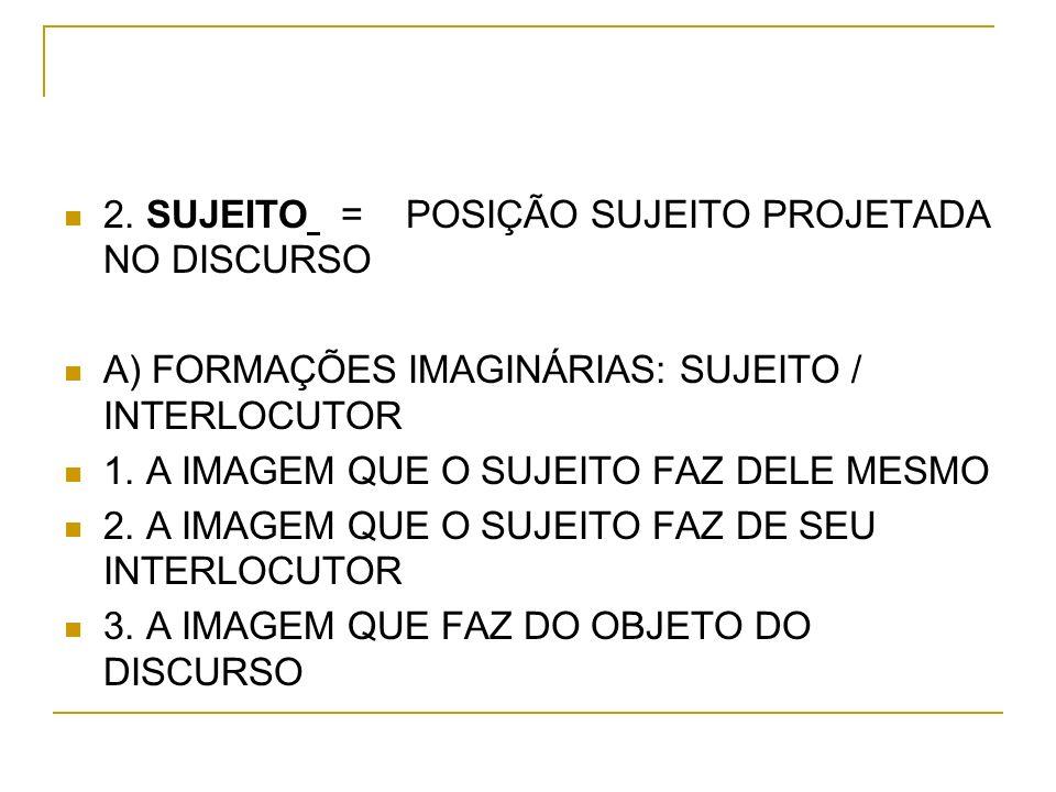 2. SUJEITO = POSIÇÃO SUJEITO PROJETADA NO DISCURSO A) FORMAÇÕES IMAGINÁRIAS: SUJEITO / INTERLOCUTOR 1. A IMAGEM QUE O SUJEITO FAZ DELE MESMO 2. A IMAG