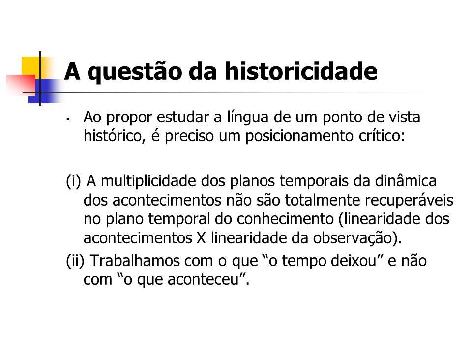 A questão da historicidade Ao propor estudar a língua de um ponto de vista histórico, é preciso um posicionamento crítico: (i) A multiplicidade dos pl