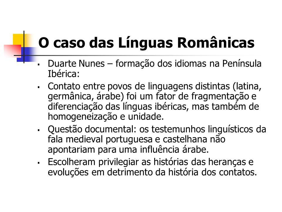 O caso das Línguas Românicas Duarte Nunes – formação dos idiomas na Península Ibérica: Contato entre povos de linguagens distintas (latina, germânica,