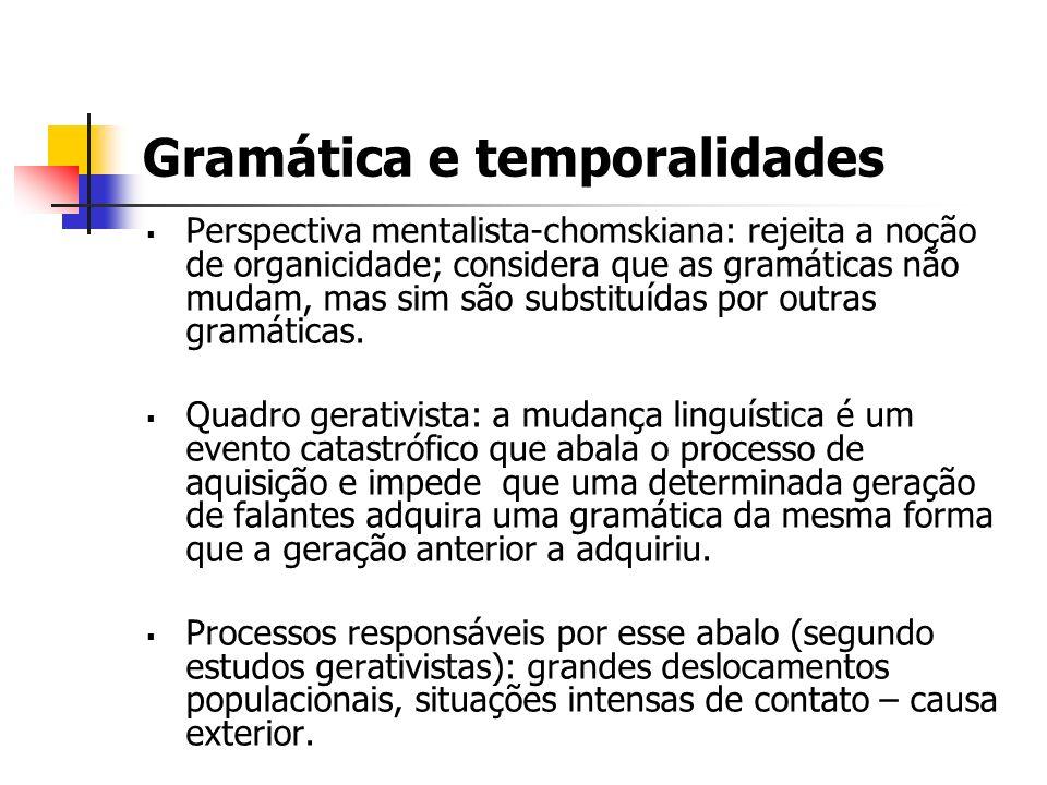 Gramática e temporalidades Perspectiva mentalista-chomskiana: rejeita a noção de organicidade; considera que as gramáticas não mudam, mas sim são subs
