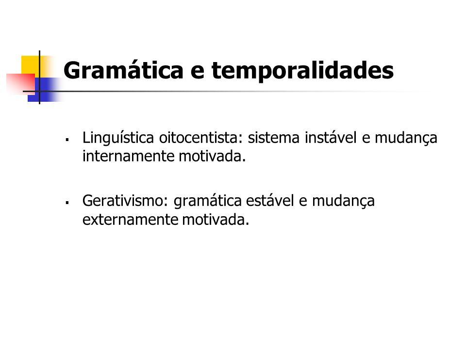 Gramática e temporalidades Linguística oitocentista: sistema instável e mudança internamente motivada. Gerativismo: gramática estável e mudança extern