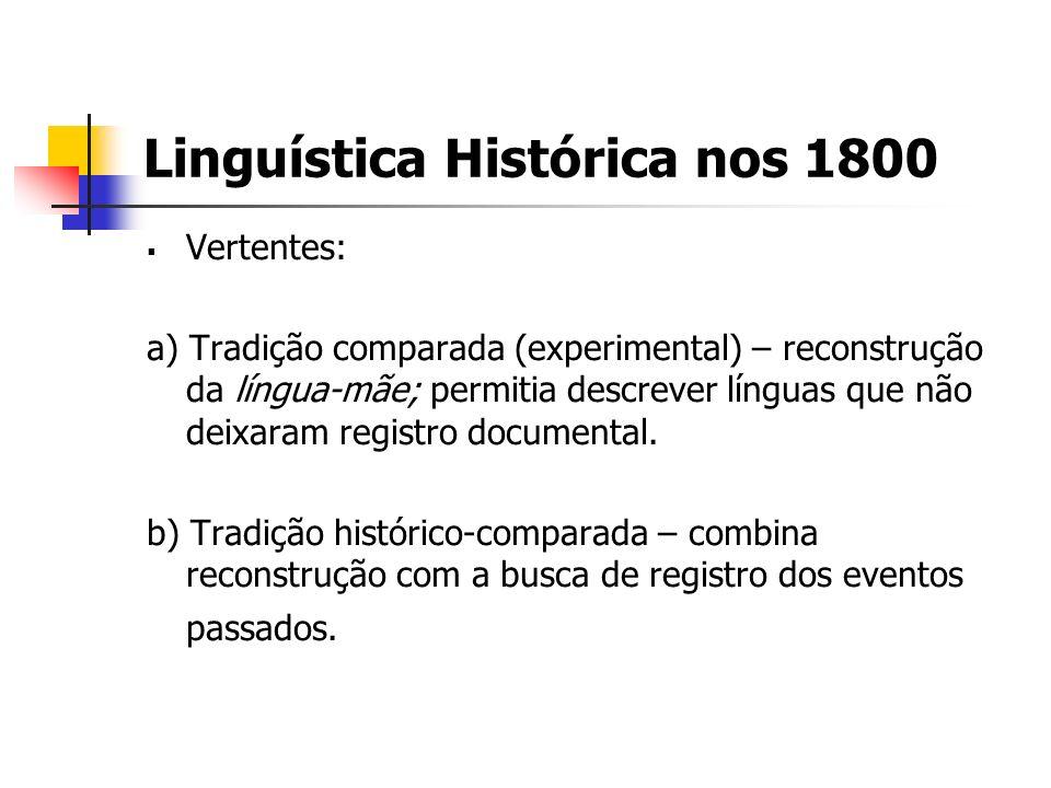 Linguística Histórica nos 1800 Vertentes: a) Tradição comparada (experimental) – reconstrução da língua-mãe; permitia descrever línguas que não deixar