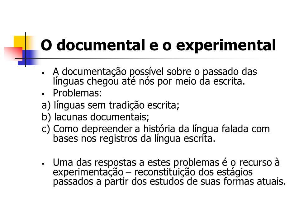O documental e o experimental A documentação possível sobre o passado das línguas chegou até nós por meio da escrita. Problemas: a) línguas sem tradiç