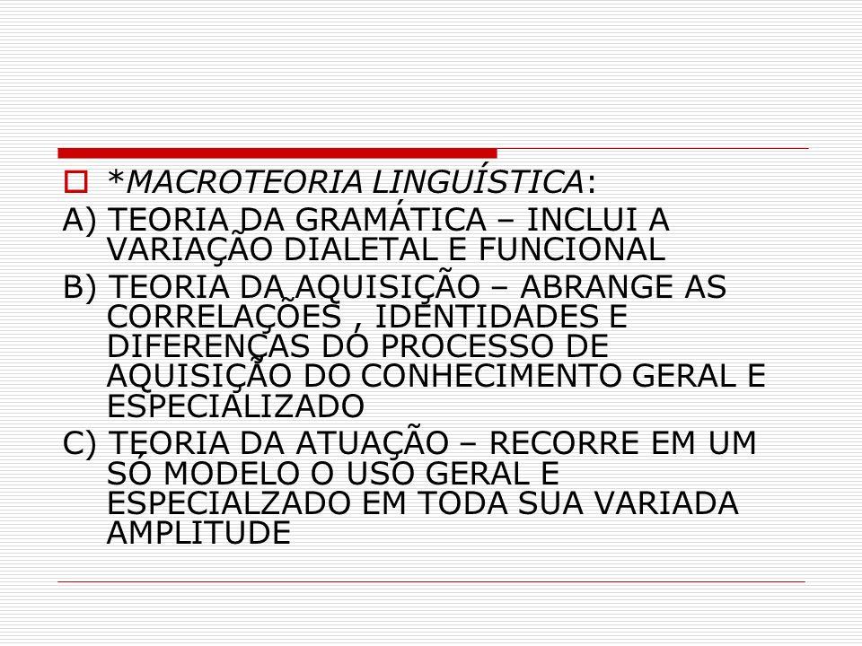 *MACROTEORIA LINGUÍSTICA: A) TEORIA DA GRAMÁTICA – INCLUI A VARIAÇÃO DIALETAL E FUNCIONAL B) TEORIA DA AQUISIÇÃO – ABRANGE AS CORRELAÇÕES, IDENTIDADES E DIFERENÇAS DO PROCESSO DE AQUISIÇÃO DO CONHECIMENTO GERAL E ESPECIALIZADO C) TEORIA DA ATUAÇÃO – RECORRE EM UM SÓ MODELO O USO GERAL E ESPECIALZADO EM TODA SUA VARIADA AMPLITUDE